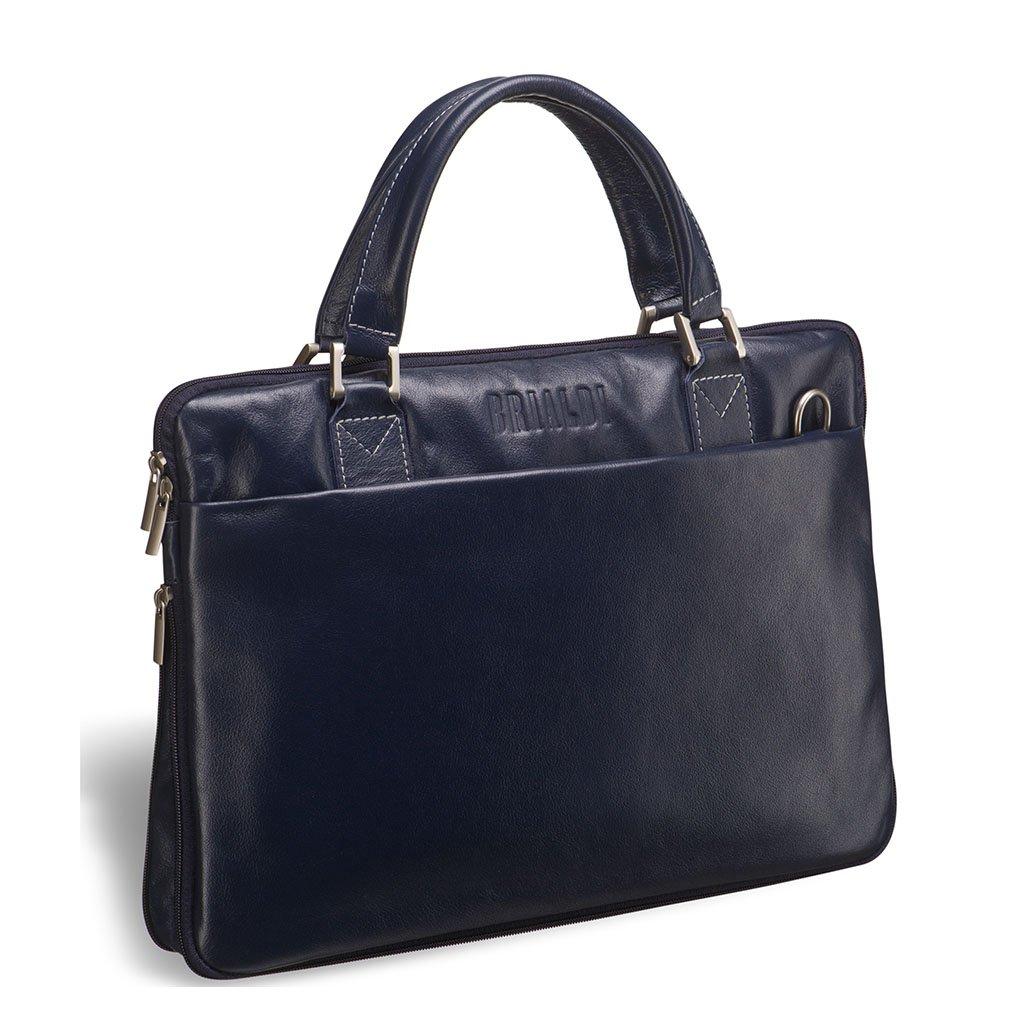 Купить Деловая сумка SLIM-формата BRIALDI Ostin (Остин) navy, Италия, Синий, Натуральная кожа высококачественной выделки, сорт Great Nappa