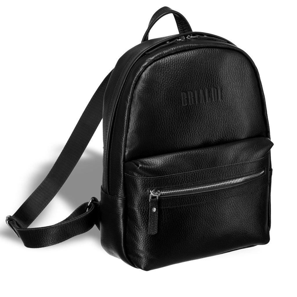 Купить Женский стильный рюкзак BRIALDI Leonora (Леонора) relief black, Италия, Черный, Рельефная натуральная кожа Canyon