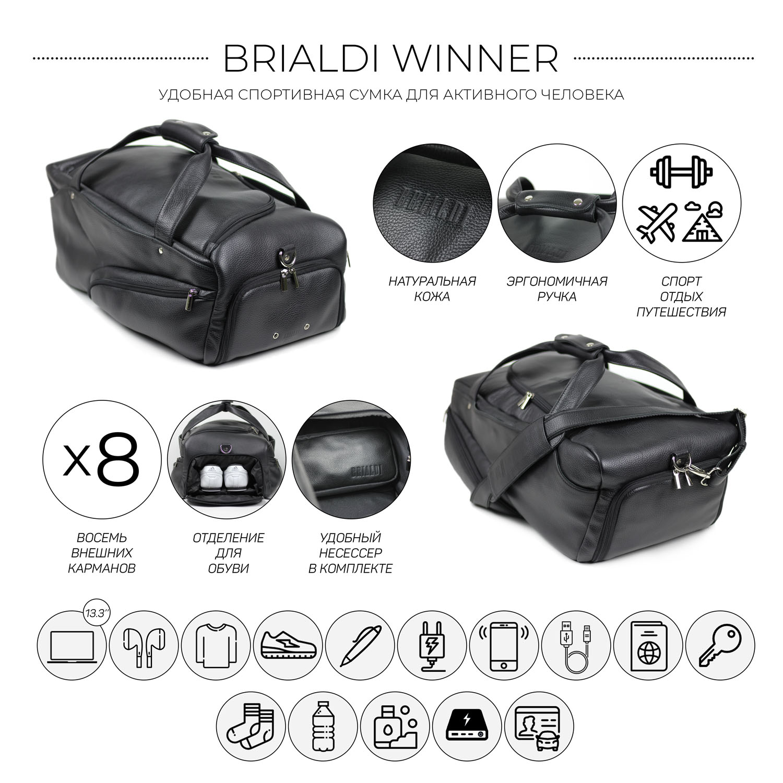 Дорожно-спортивная сумка BRIALDI Winner (Виннер) relief black, Черный