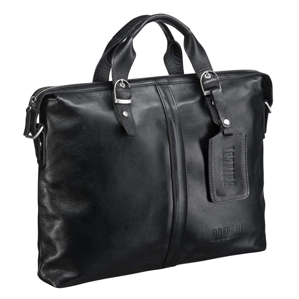 Деловая сумка BRIALDI Denver (Денвер) black, Италия, Черный, Натуральная кожа высококачественной выделки, сорт Great Nappa  - купить со скидкой