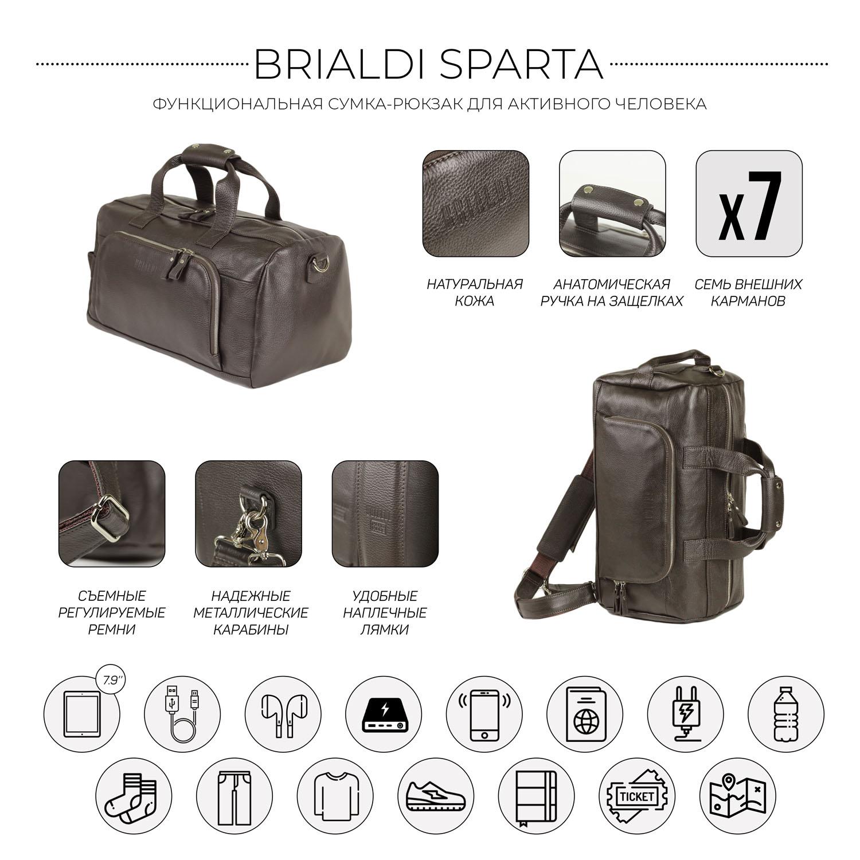 Дорожно-спортивная сумка трансформер BRIALDI Sparta (Спарта) relief brown, Коричневый