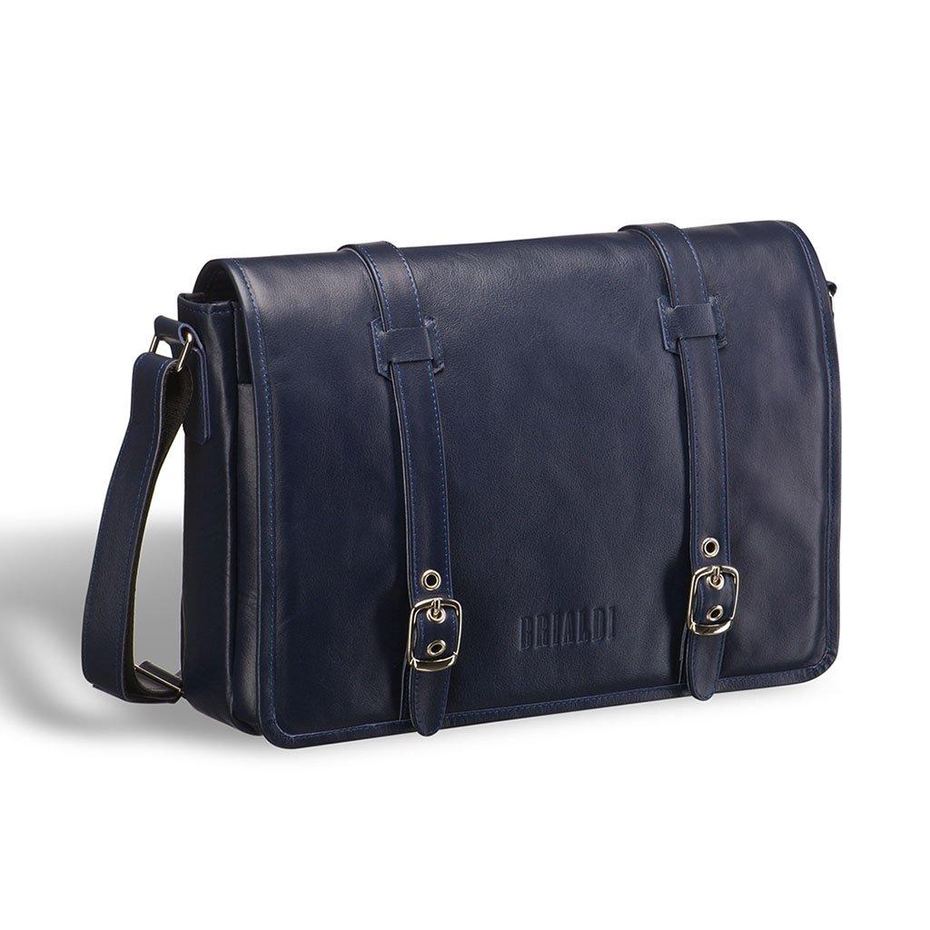 Купить со скидкой Кожаная сумка через плечо BRIALDI Turin (Турин) navy