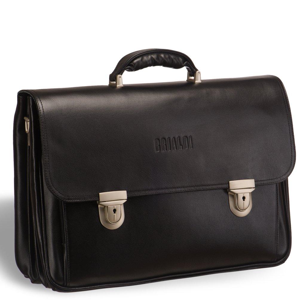 Объемный классический портфель для документов с 3-мя отделениями BRIALDI Konstantin (Константин) black