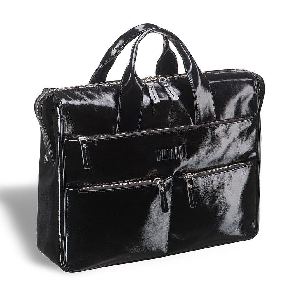 Купить Вместительная деловая сумка BRIALDI Manchester (Манчестер) shiny black, Италия, Черный, Натуральная кожа высококачественной выделки, сорт Solid Nappa