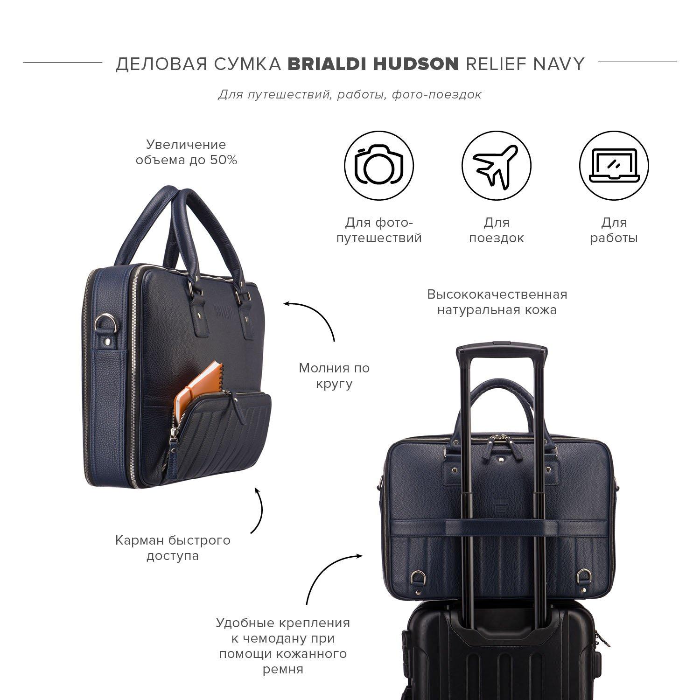 Деловая сумка-трансформер 3-в-1 BRIALDI Hudson (Гудзон) relief navy
