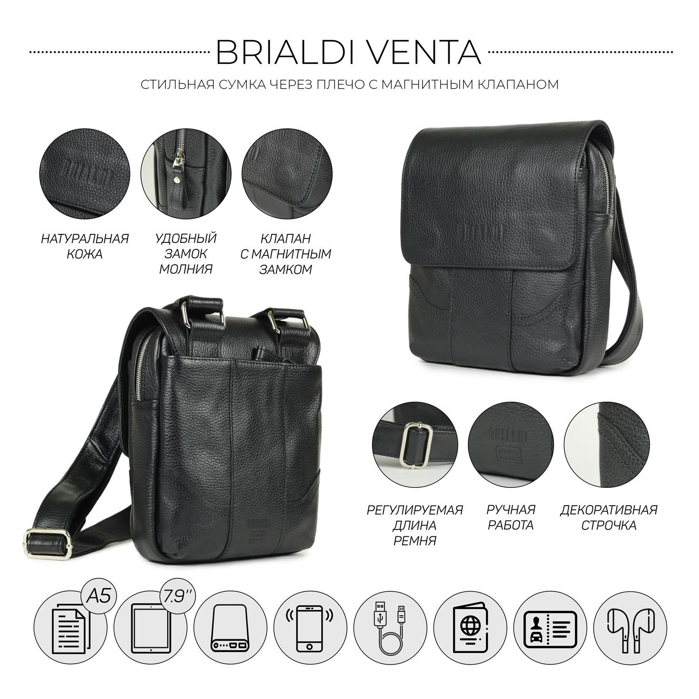 Купить Кожаная сумка через плечо BRIALDI Venta (Вента) relief black, Италия, Черный, Натуральная кожа высококачественной выделки Canyon