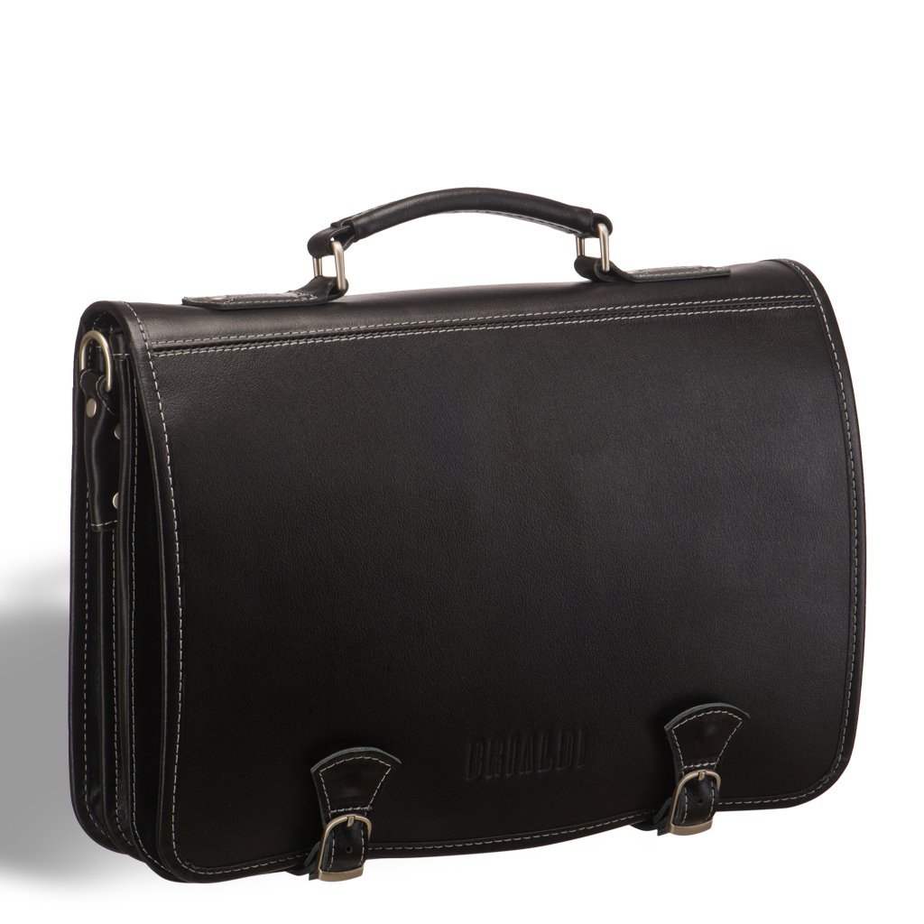 Купить со скидкой Стильный портфель с откидным верхом и магнитными замками BRIALDI Edison (Эдисон) black