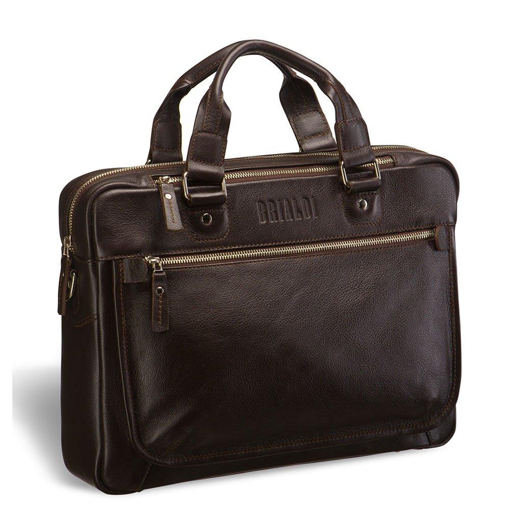 Деловая сумка BRIALDI York (Йорк) brown, Италия, Коричневый, Натуральная кожа высококачественной выделки, сорт Great Nappa  - купить со скидкой