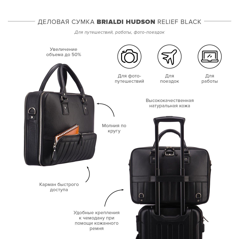 Купить Деловая сумка-трансформер 3-в-1 BRIALDI Hudson (Гудзон) relief black, Италия, Черный, Натуральная кожа высококачественной выделки Canyon