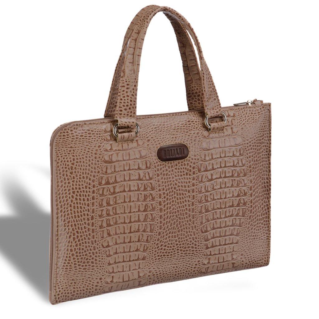 Купить со скидкой Женская деловая сумка BRIALDI Aisa (Аиса) croco cappuccino