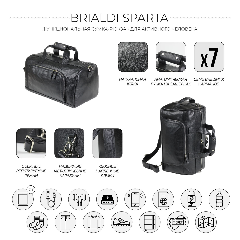 Купить Дорожно-спортивная сумка трансформер BRIALDI Sparta (Спарта) relief black, Италия, Черный, Натуральная кожа высококачественной выделки Canyon