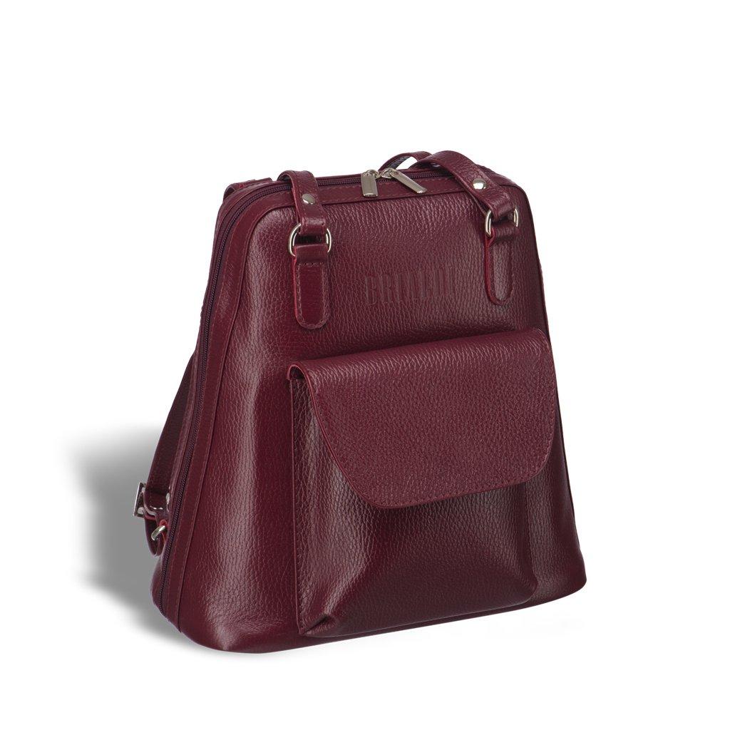 Купить Женская сумка-рюкзак трапециевидной формы BRIALDI Beatrice (Биатрис) relief cherry, Италия, Бордовый, Рельефная натуральная кожа Canyon
