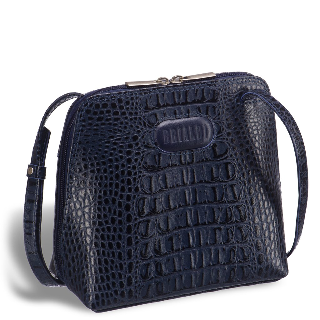 Купить Кожаная сумка через плечо BRIALDI Torre (Торре) croco navy, Италия, Синий, Натуральная кожа высококачественной выделки Vatelino