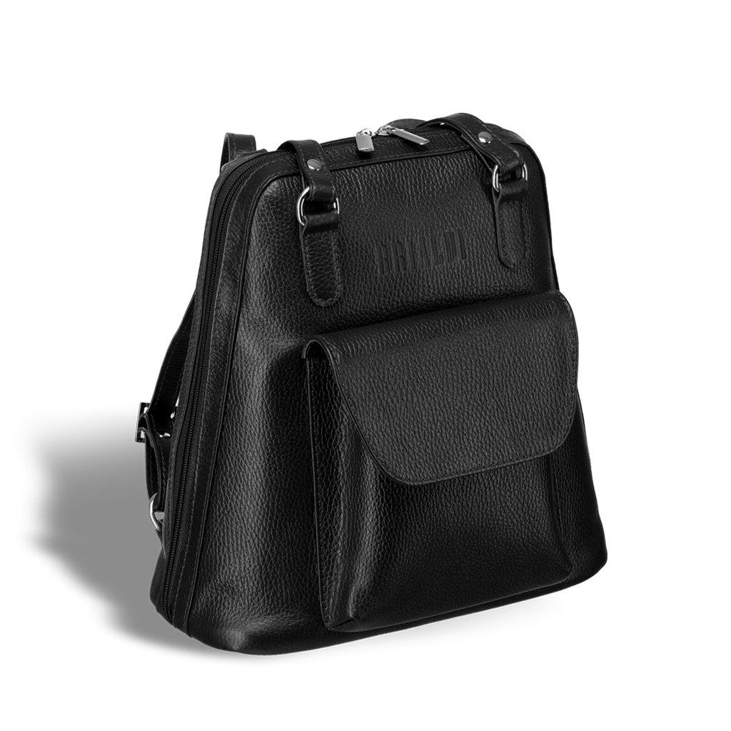 Купить Женская сумка-рюкзак трапециевидной формы BRIALDI Beatrice (Биатрис) relief black, Италия, Черный, Рельефная натуральная кожа Canyon