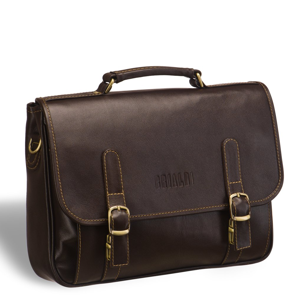Классический деловой портфель с прекрасной эргономикой BRIALDI Faraday (Фарадей) brown
