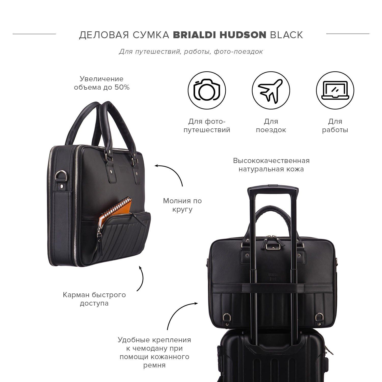 Купить Деловая сумка-трансформер 3-в-1 BRIALDI Hudson (Гудзон) black, Италия, Черный, Натуральная кожа высококачественной выделки Nappa