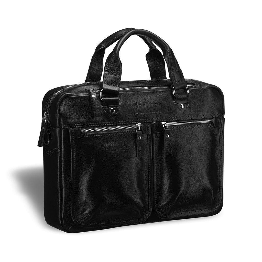 Купить Деловая сумка для документов BRIALDI Parma (Парма) black, Италия, Черный, Натуральная кожа высококачественной выделки, сорт Great Nappa