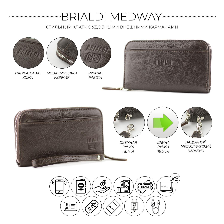 Купить Мужской клатч BRIALDI Medway (Медуэй) relief brown, Италия, Коричневый, Натуральная кожа Canyon