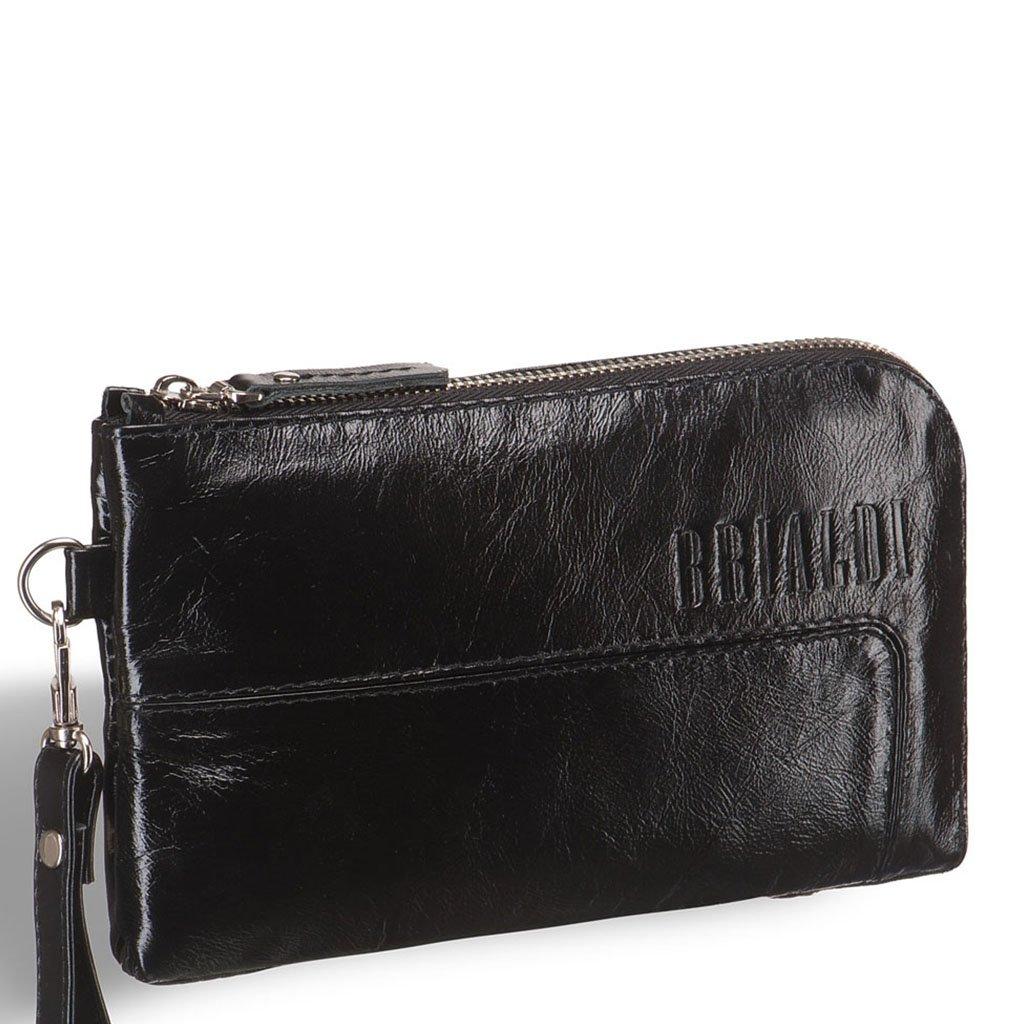 Купить Мужской клатч BRIALDI Mobile (Мобил) shiny black, Италия, Черный, Натуральная кожа высококачественной выделки, сорт Solid Nappa