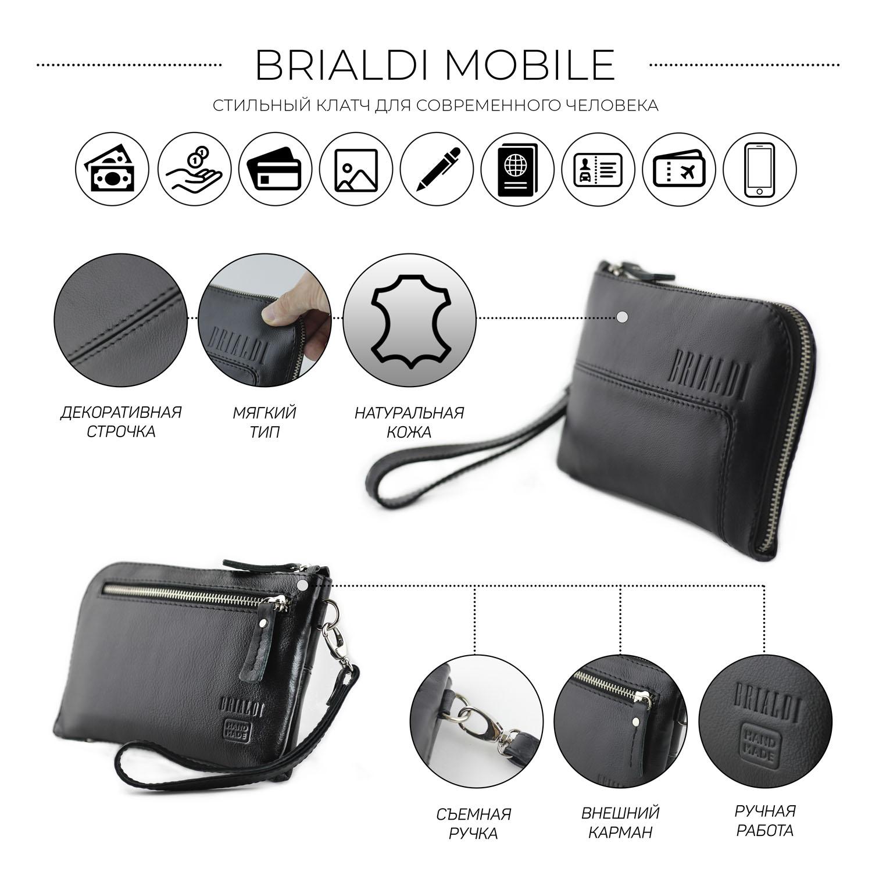 Купить Мужской клатч BRIALDI Mobile (Мобил) black, Италия, Черный, Натуральная кожа высококачественной выделки, сорт Great Nappa