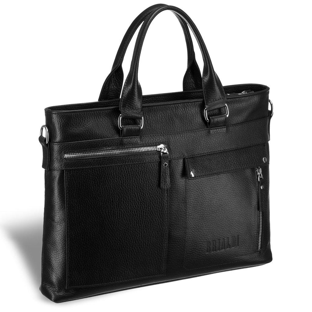 Купить Деловая сумка Slim-формата для документов BRIALDI Bresso (Брессо) relief black, Италия, Черный, Высококачественная натуральная кожа Canyon