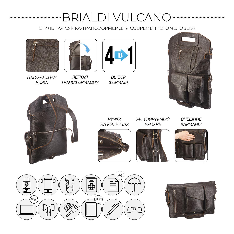 Купить Сумка-трансформер 4-в-1 BRIALDI Vulcano (Вулькано) relief brown, Италия, Коричневый, Натуральная кожа Canyon