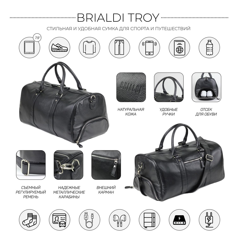 Дорожно-спортивная сумка BRIALDI Troy (Троя) relief black, Черный