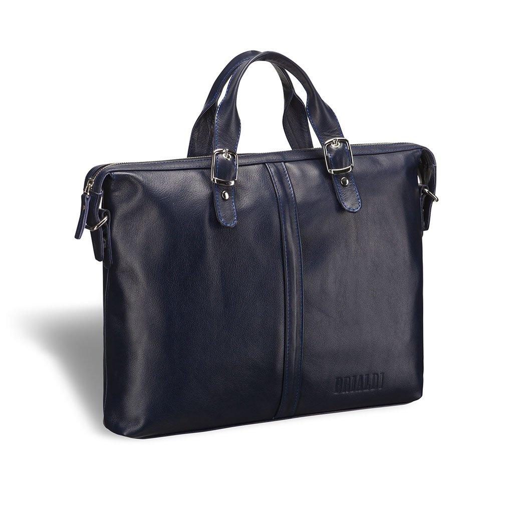 Деловая сумка BRIALDI Denver (Денвер) navy, Италия, Синий, Натуральная кожа высококачественной выделки, сорт Great Nappa  - купить со скидкой