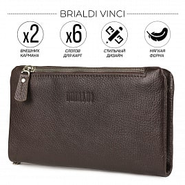 Мужской клатч мягкой формы с двумя внешними карманами BRIALDI Vinci (Винчи) relief brown