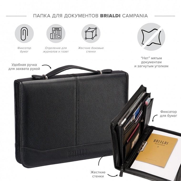 18a0d7f87b07 Папка для документов BRIALDI Campania (Кампания) relief black купить по  демократичной цене в интернет-магазине BRIALDI – доставка по Москве.