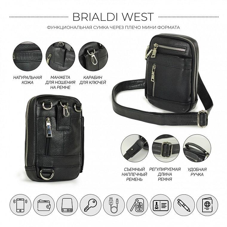 732696b05c67 Кожаная сумка через плечо mini-формата BRIALDI West (Вест) relief black