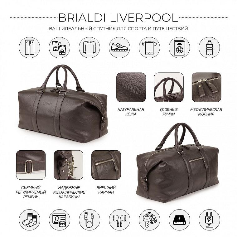 1140cae5281c Дорожно-спортивная сумка BRIALDI Liverpool (Ливерпуль) relief brown ...