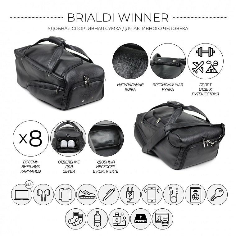 3117c21b Дорожно-спортивная сумка BRIALDI Winner (Виннер) relief black купить ...