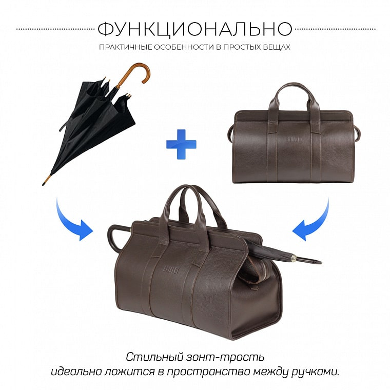 Дорожная сумка BRIALDI Crown (Краун) relief brown - вид 5