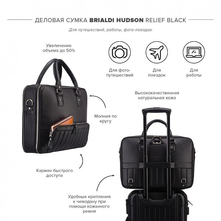 e3254ea34db3 Деловая сумка-трансформер 3-в-1 BRIALDI Hudson (Гудзон) relief black ...