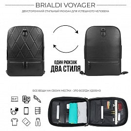 212eea2b50c6 Купить · Стильный кожаный рюкзак BRIALDI Voyager (Вояджер) relief black ...